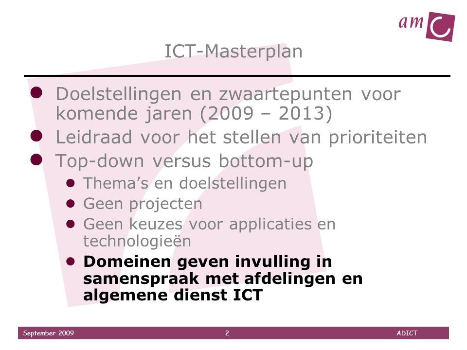 September 2009 2 ADICT ICT-Masterplan ● Doelstellingen en zwaartepunten voor komende jaren (2009 – 2013) ● Leidraad voor het stellen van prioriteiten