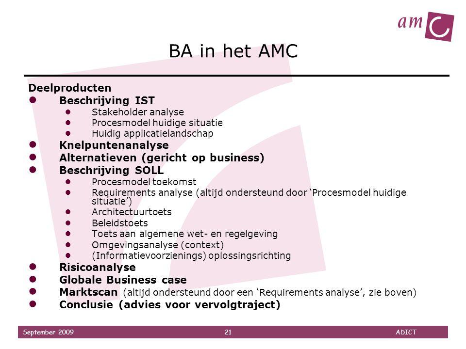 September 2009 21 ADICT BA in het AMC Deelproducten ● Beschrijving IST ● Stakeholder analyse ● Procesmodel huidige situatie ● Huidig applicatielandsch