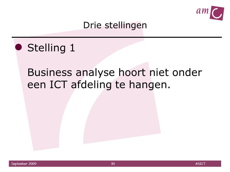 September 2009 30 ADICT Drie stellingen ● Stelling 1 Business analyse hoort niet onder een ICT afdeling te hangen.