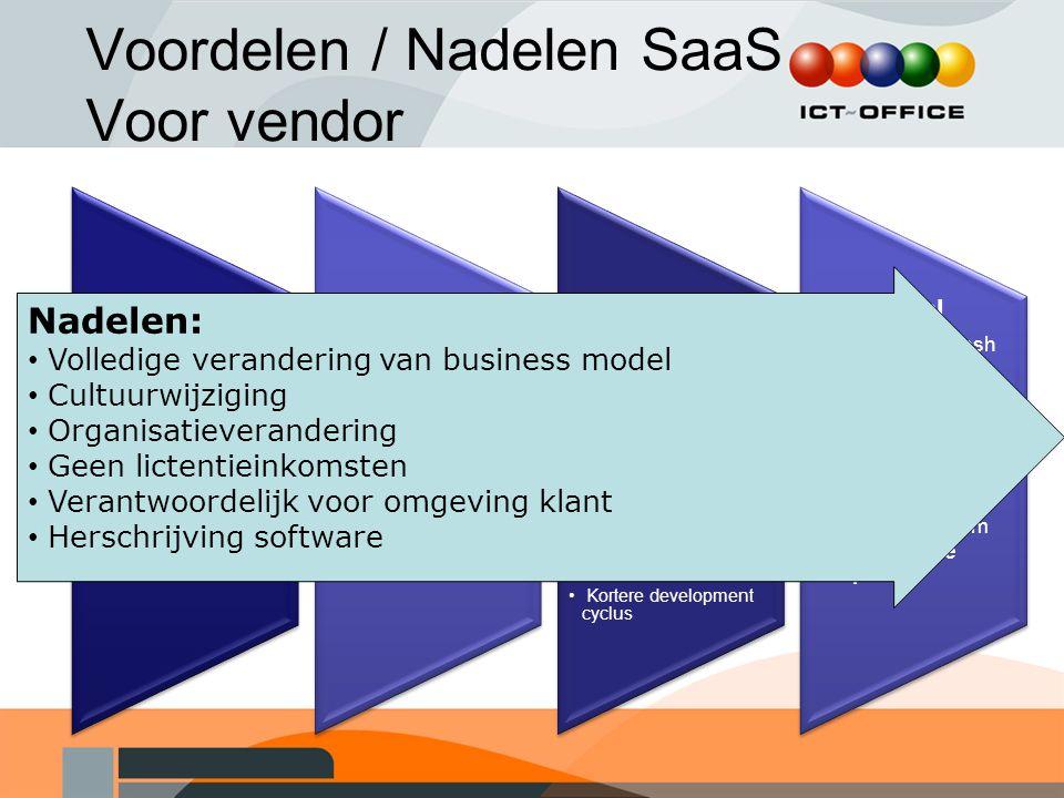 Voordelen / Nadelen SaaS Voor vendor Verkoop Snellere deal, Kortere verkoopcyclus Upselling mogelijkheden Meer markt potentie Customer relationship On