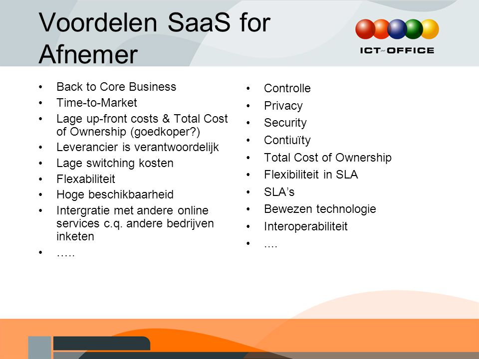 Voordelen SaaS for Afnemer Back to Core Business Time-to-Market Lage up-front costs & Total Cost of Ownership (goedkoper?) Leverancier is verantwoordelijk Lage switching kosten Flexabiliteit Hoge beschikbaarheid Intergratie met andere online services c.q.