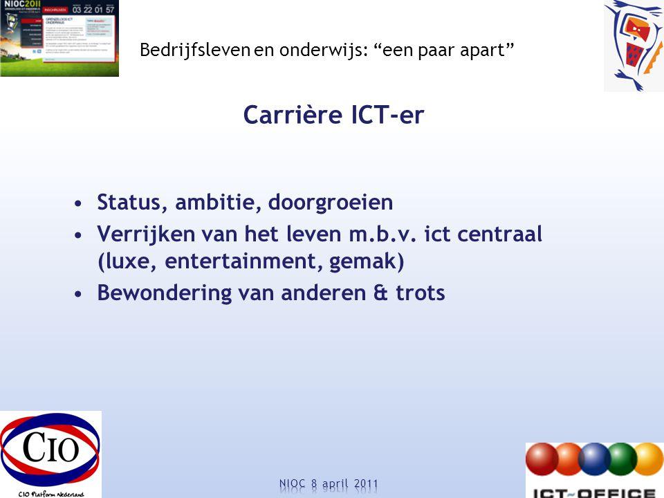 Bedrijfsleven en onderwijs: een paar apart Carrière ICT-er Status, ambitie, doorgroeien Verrijken van het leven m.b.v.
