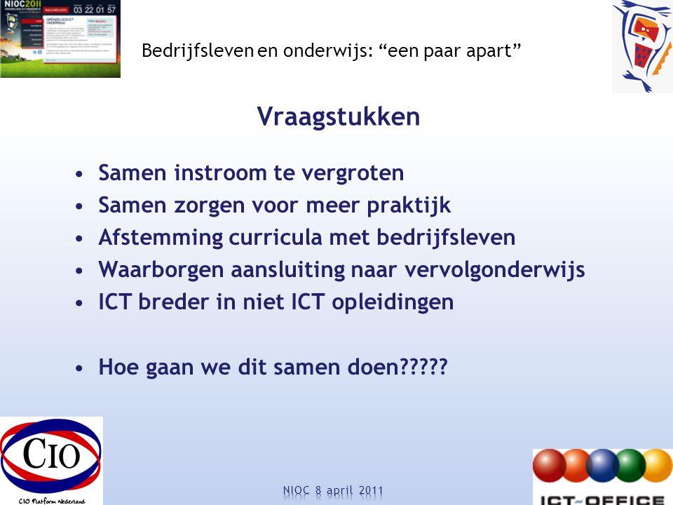 Bedrijfsleven en onderwijs: een paar apart Vraagstukken Samen instroom te vergroten Samen zorgen voor meer praktijk Afstemming curricula met bedrijfsleven Waarborgen aansluiting naar vervolgonderwijs ICT breder in niet ICT opleidingen Hoe gaan we dit samen doen