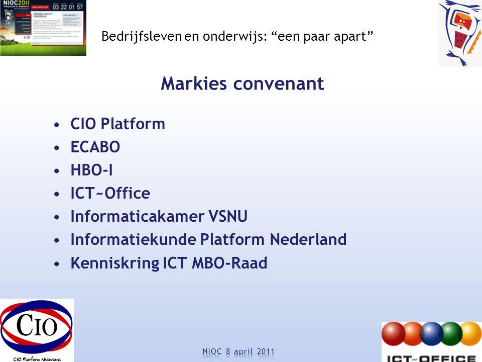 Bedrijfsleven en onderwijs: een paar apart Markies convenant CIO Platform ECABO HBO-I ICT~Office Informaticakamer VSNU Informatiekunde Platform Nederland Kenniskring ICT MBO-Raad