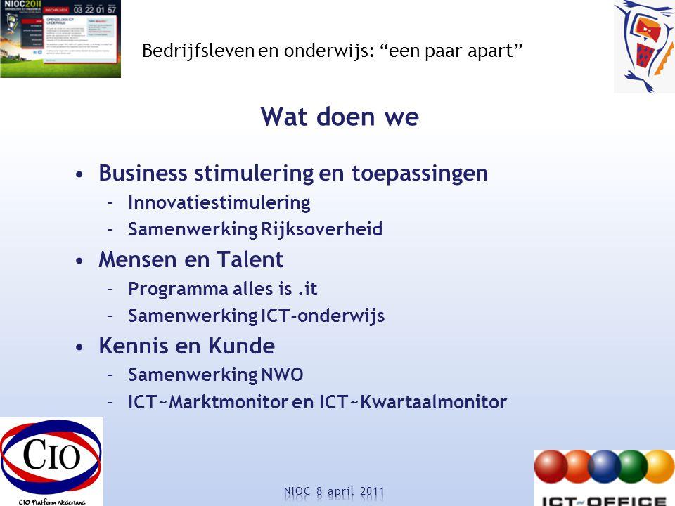 Bedrijfsleven en onderwijs: een paar apart Wat doen we Business stimulering en toepassingen –Innovatiestimulering –Samenwerking Rijksoverheid Mensen en Talent –Programma alles is.it –Samenwerking ICT-onderwijs Kennis en Kunde –Samenwerking NWO –ICT~Marktmonitor en ICT~Kwartaalmonitor