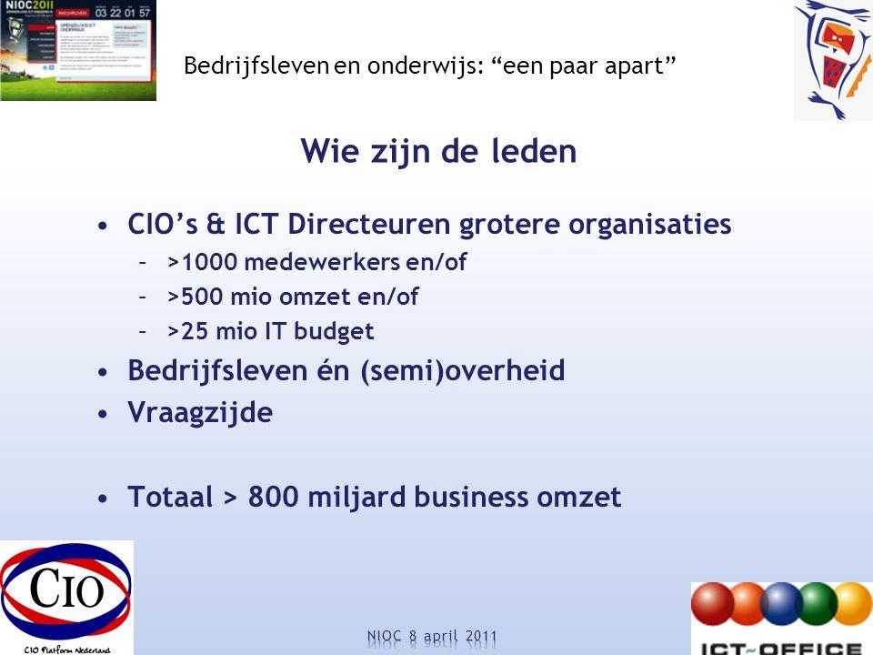 Bedrijfsleven en onderwijs: een paar apart Wie zijn de leden CIO's & ICT Directeuren grotere organisaties –>1000 medewerkers en/of –>500 mio omzet en/of –>25 mio IT budget Bedrijfsleven én (semi)overheid Vraagzijde Totaal > 800 miljard business omzet