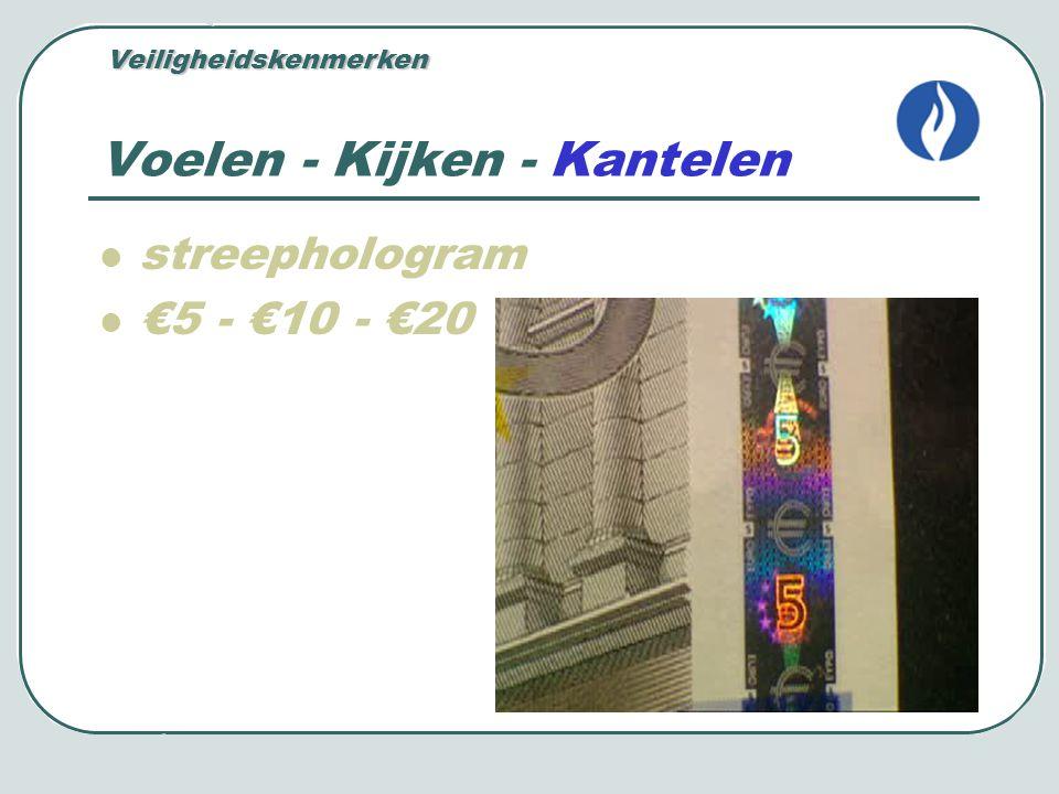 Voelen - Kijken - Kantelen vierkant hologram €50 - €100 - €200 - €500 Veiligheidskenmerken