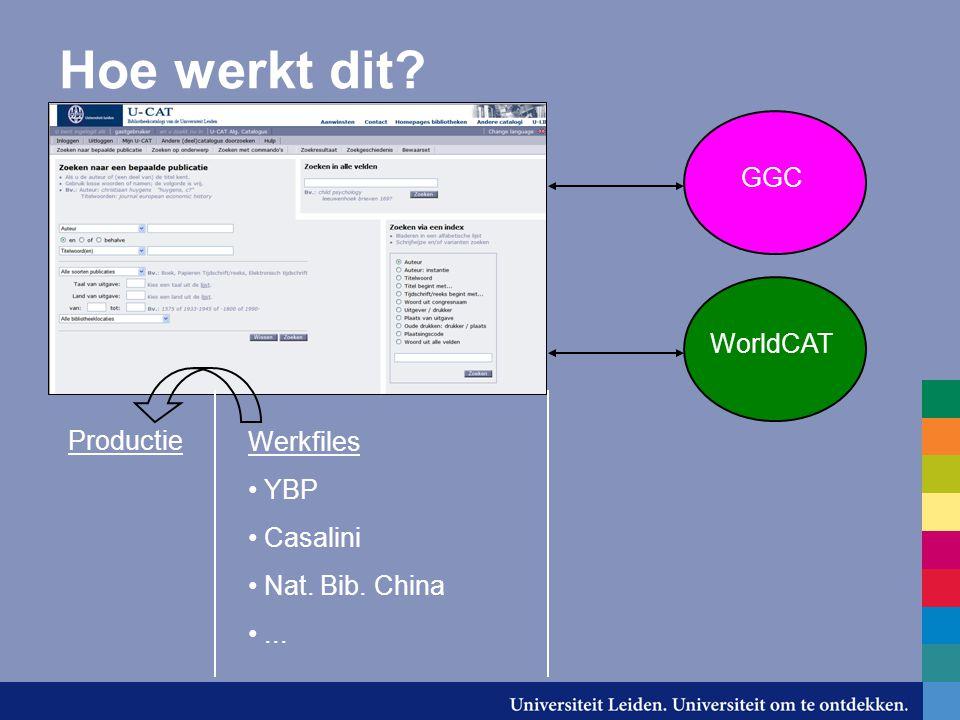 Hoe werkt dit Productie Werkfiles YBP Casalini Nat. Bib. China... GGC WorldCAT