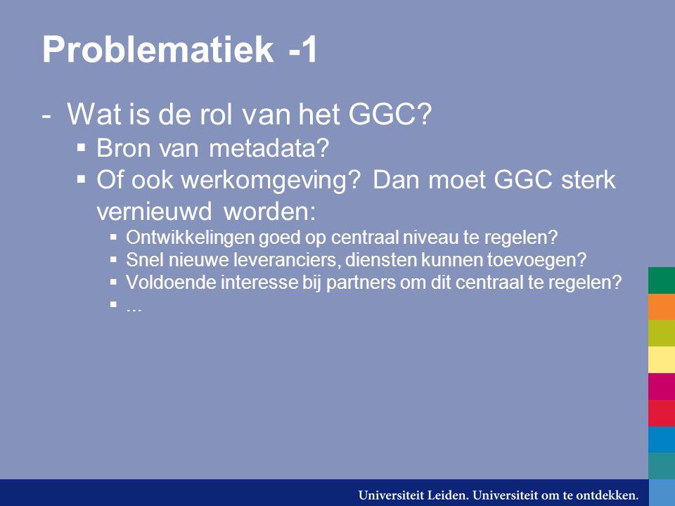 Problematiek -1 -Wat is de rol van het GGC.  Bron van metadata.