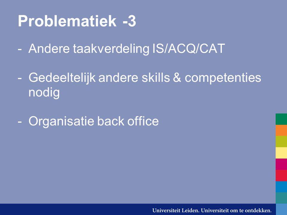 Problematiek -3 -Andere taakverdeling IS/ACQ/CAT -Gedeeltelijk andere skills & competenties nodig -Organisatie back office