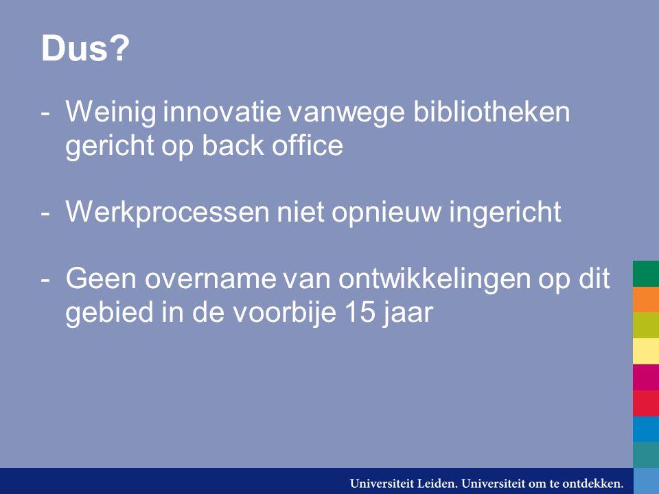 Dus? -Weinig innovatie vanwege bibliotheken gericht op back office -Werkprocessen niet opnieuw ingericht -Geen overname van ontwikkelingen op dit gebi