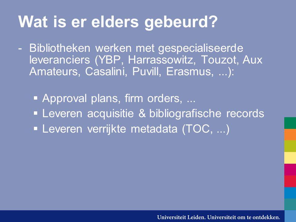 Standaarden? -MARC (MARC21) -EDI(FACT) -OpenURL -UNICODE