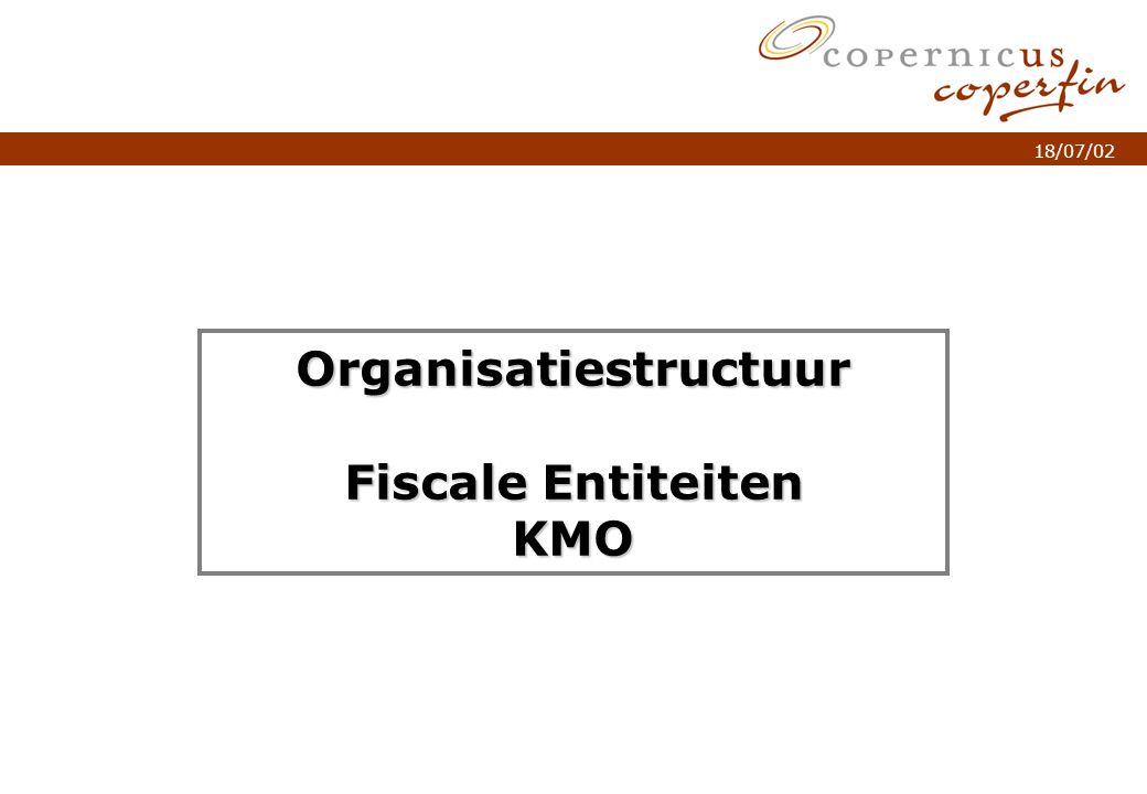 p. 1Titel van de presentatie 18/07/02 Organisatiestructuur Fiscale Entiteiten KMO