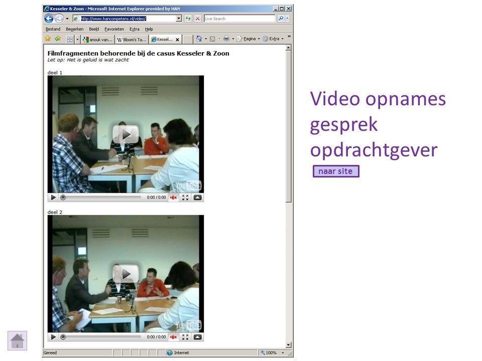 Video opnames gesprek opdrachtgever naar site