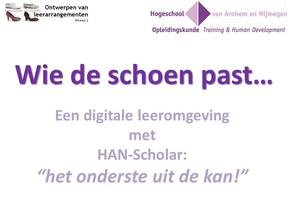 """Wie de schoen past… Een digitale leeromgeving met HAN-Scholar: """"het onderste uit de kan!"""""""