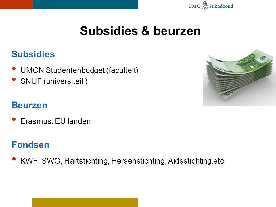 Subsidies UMCN Studentenbudget (faculteit) SNUF (universiteit ) Beurzen Erasmus: EU landen Fondsen KWF, SWG, Hartstichting, Hersenstichting, Aidsstich