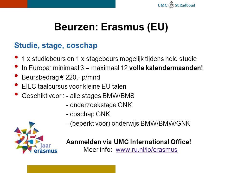 Beurzen: Erasmus (EU) Studie, stage, coschap 1 x studiebeurs en 1 x stagebeurs mogelijk tijdens hele studie In Europa: minimaal 3 – maximaal 12 volle