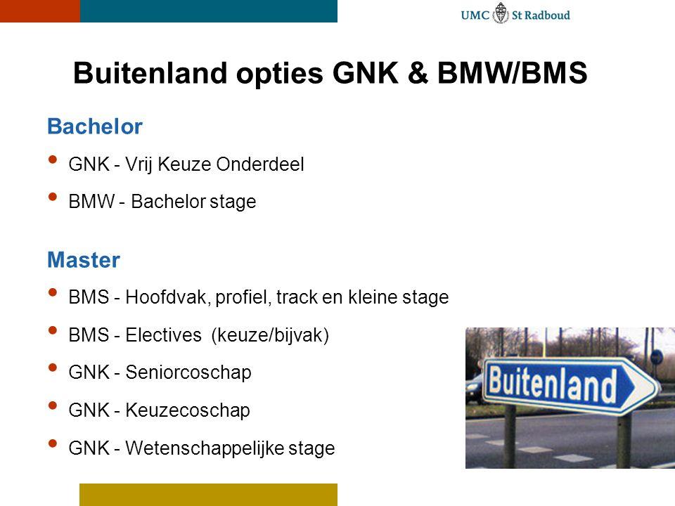 Buitenland opties GNK & BMW/BMS Bachelor GNK - Vrij Keuze Onderdeel BMW - Bachelor stage Master BMS - Hoofdvak, profiel, track en kleine stage BMS - E