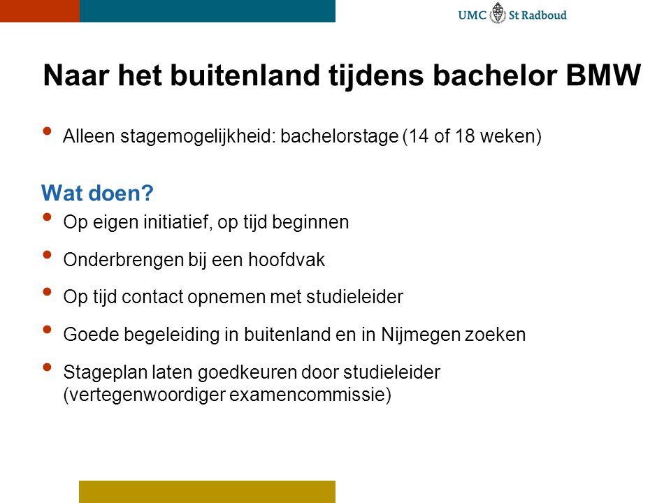 Naar het buitenland tijdens bachelor BMW Alleen stagemogelijkheid: bachelorstage (14 of 18 weken) Wat doen? Op eigen initiatief, op tijd beginnen Onde
