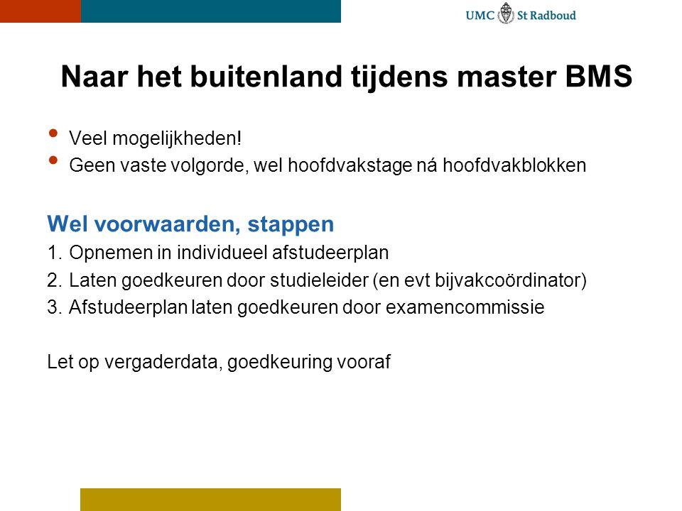 Bachelor BMW / Master BMS Stages Bachelor: Bachelorstage 2 e semester jaar 3 Master: Hoofdvak, profiel, track, kleine stage 2 e semester jaar 1 en/of hele jaar 2 onderzoekvoorbeeld: verspreiding eencellige parasiet in Nieuw Zeeland
