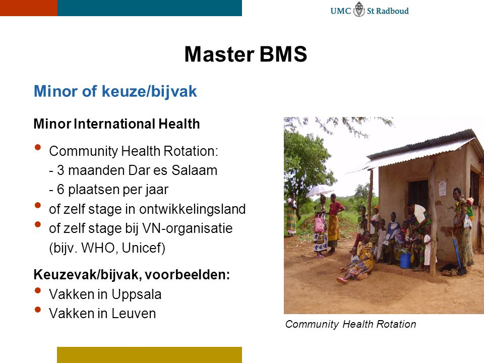 Master BMS Minor of keuze/bijvak Minor International Health Community Health Rotation: - 3 maanden Dar es Salaam - 6 plaatsen per jaar of zelf stage i