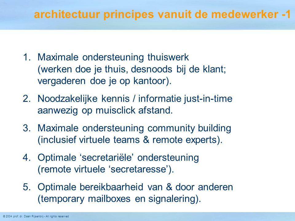 © 2004 prof. dr. Daan Rijsenbrij - All rights reserved architectuur principes vanuit de medewerker -1 1.Maximale ondersteuning thuiswerk (werken doe j
