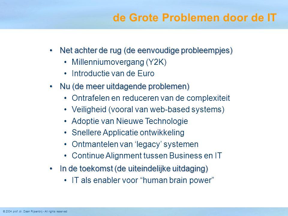 © 2004 prof. dr. Daan Rijsenbrij - All rights reserved de Grote Problemen door de IT Net achter de rug (de eenvoudige probleempjes)Net achter de rug (