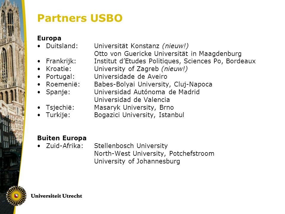 Partners USBO Europa Duitsland: Universität Konstanz (nieuw!) Otto von Guericke Universität in Maagdenburg Frankrijk: Institut d'Etudes Politiques, Sc