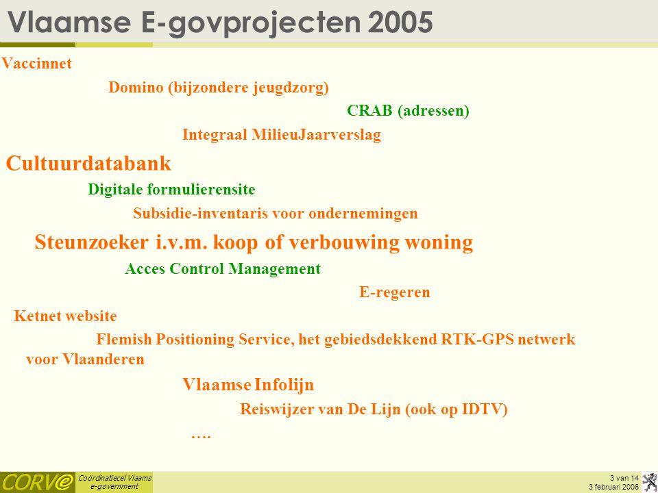 Coördinatiecel Vlaams e-government 3 van 14 3 februari 2006 Vlaamse E-govprojecten 2005 Vaccinnet Domino (bijzondere jeugdzorg) CRAB (adressen) Integraal MilieuJaarverslag Cultuurdatabank Digitale formulierensite Subsidie-inventaris voor ondernemingen Steunzoeker i.v.m.