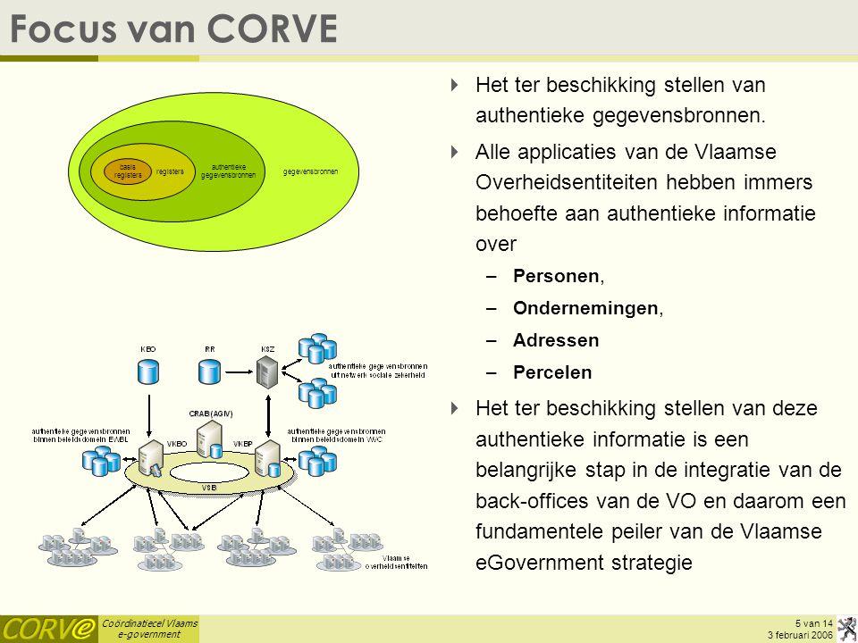 Coördinatiecel Vlaams e-government 6 van 14 3 februari 2006 Stelsel van authentieke gegevensbronnen