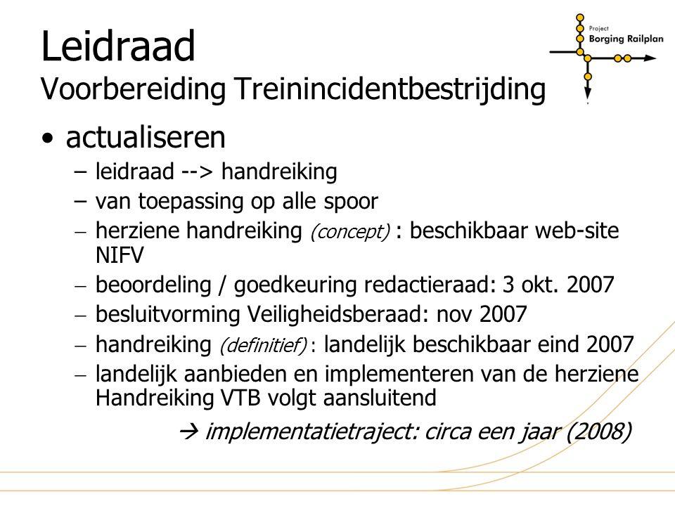 Leidraad Voorbereiding Treinincidentbestrijding actualiseren –leidraad --> handreiking –van toepassing op alle spoor  herziene handreiking (concept)