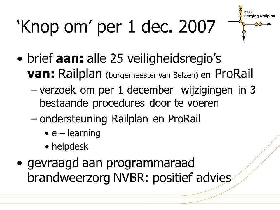 planning 'knop om' sept 2007 okt 2007 nov 2007 dec 2007 aanpassen procedures netwerk functionaliteit e-learning veiligstellen inlognamen beschikbaarstellen opleiden dmv e-learning (leerstof beschikbaar) gewijzigde procedures van kracht per 1 dec