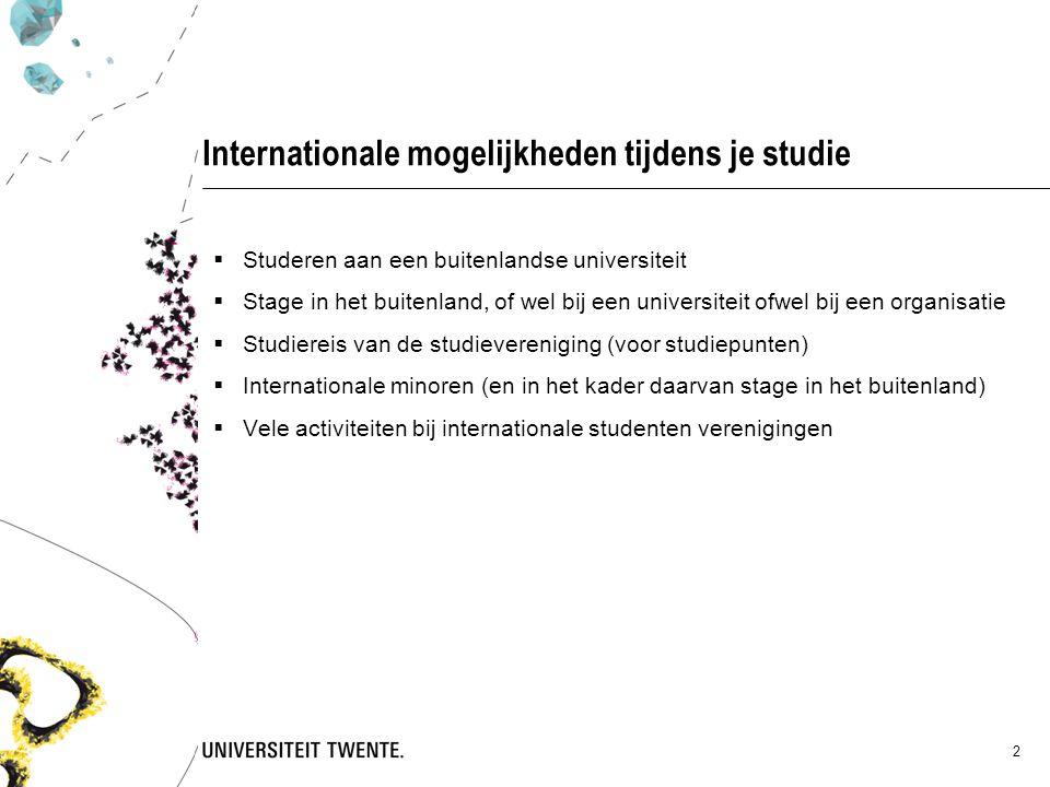 2 Internationale mogelijkheden tijdens je studie  Studeren aan een buitenlandse universiteit  Stage in het buitenland, of wel bij een universiteit ofwel bij een organisatie  Studiereis van de studievereniging (voor studiepunten)  Internationale minoren (en in het kader daarvan stage in het buitenland)  Vele activiteiten bij internationale studenten verenigingen