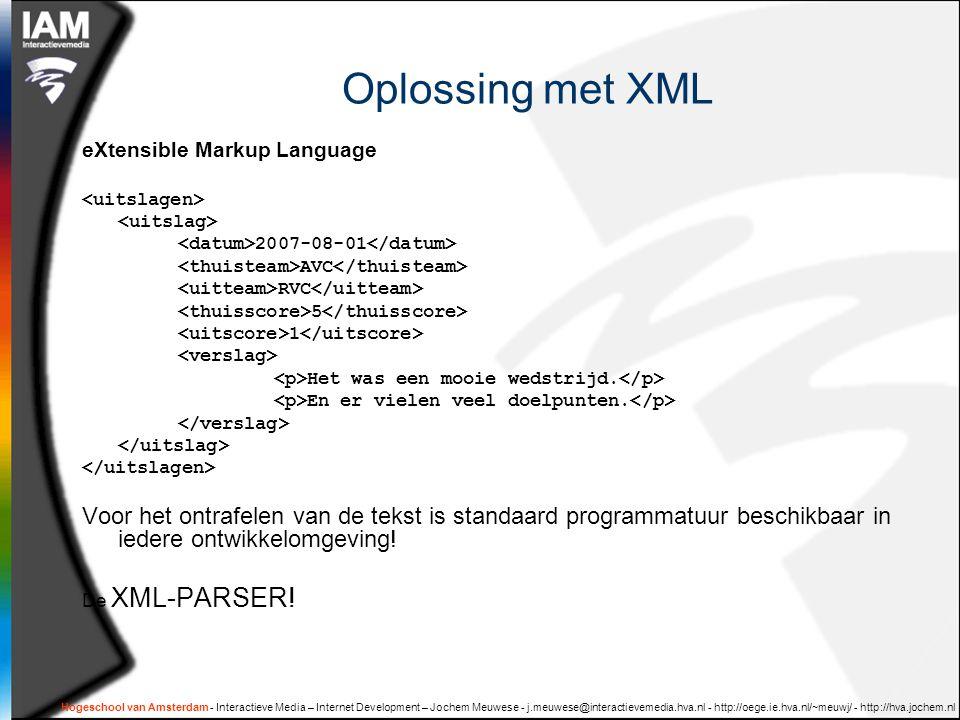 Hogeschool van Amsterdam - Interactieve Media – Internet Development – Jochem Meuwese - j.meuwese@interactievemedia.hva.nl - http://oege.ie.hva.nl/~meuwj/ - http://hva.jochem.nl Well formed XML Anders doet ie niets !