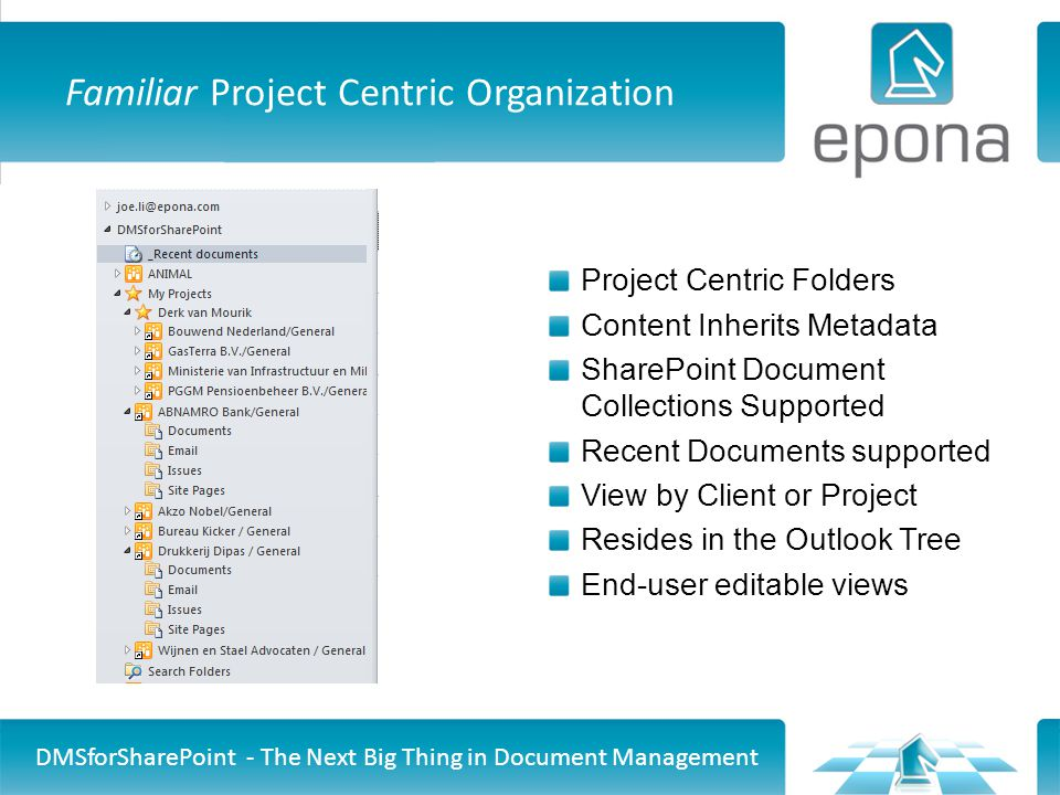 Familiar Project Centric Organization DMSforSharePoint - The Next Big Thing in Document Management Project Centric Folders Content Inherits Metadata SharePoint Document Collections Supported Recent Documents supported View by Client or Project Resides in the Outlook Tree End-user editable views