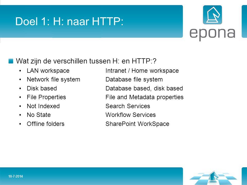Doel 1: H: naar HTTP: Wat zijn de verschillen tussen H: en HTTP:? LAN workspaceIntranet / Home workspace Network file systemDatabase file system Disk