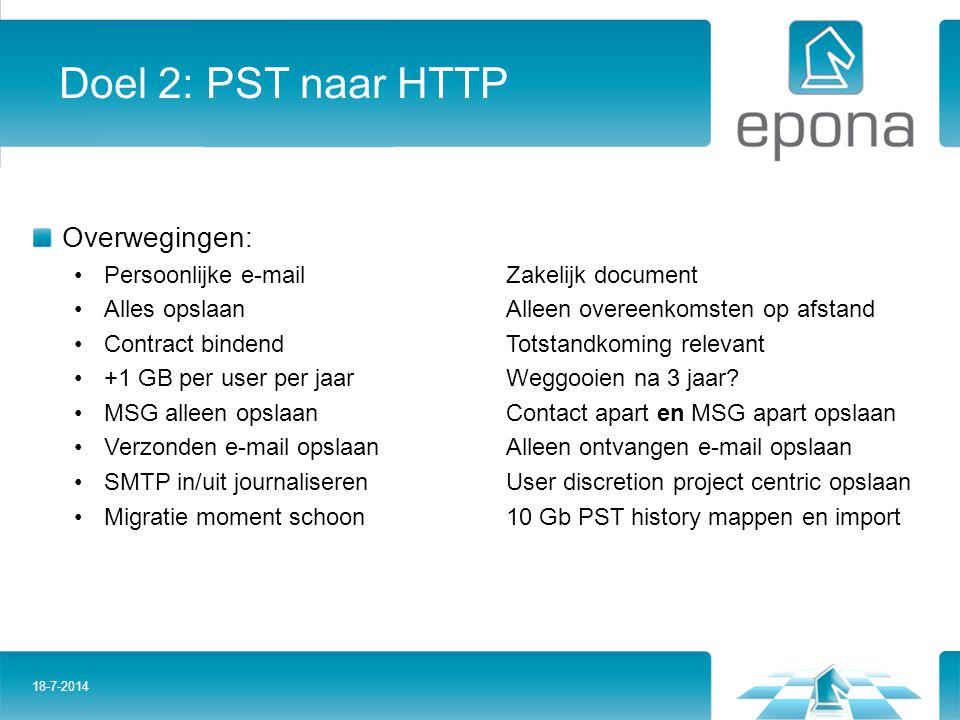 Doel 2: PST naar HTTP Overwegingen: Persoonlijke e-mailZakelijk document Alles opslaanAlleen overeenkomsten op afstand Contract bindendTotstandkoming