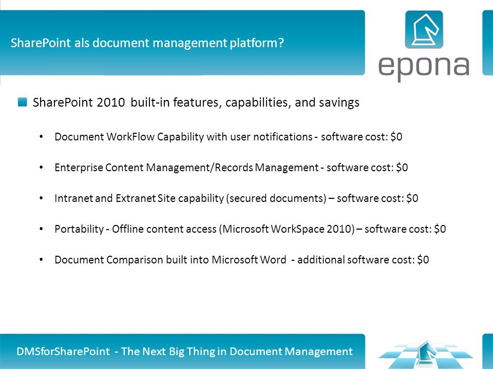Easily E-mail Content or Links DMSforSharePoint - The Next Big Thing in Document Management