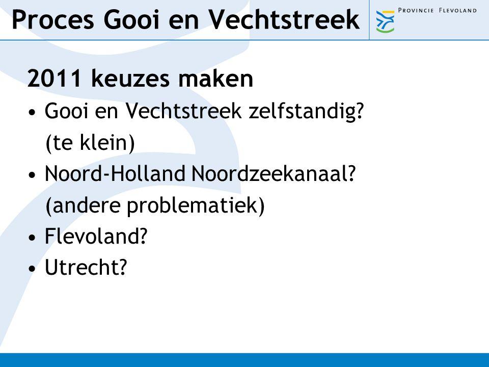 Proces Gooi en Vechtstreek 2011 keuzes maken Gooi en Vechtstreek zelfstandig? (te klein) Noord-Holland Noordzeekanaal? (andere problematiek) Flevoland