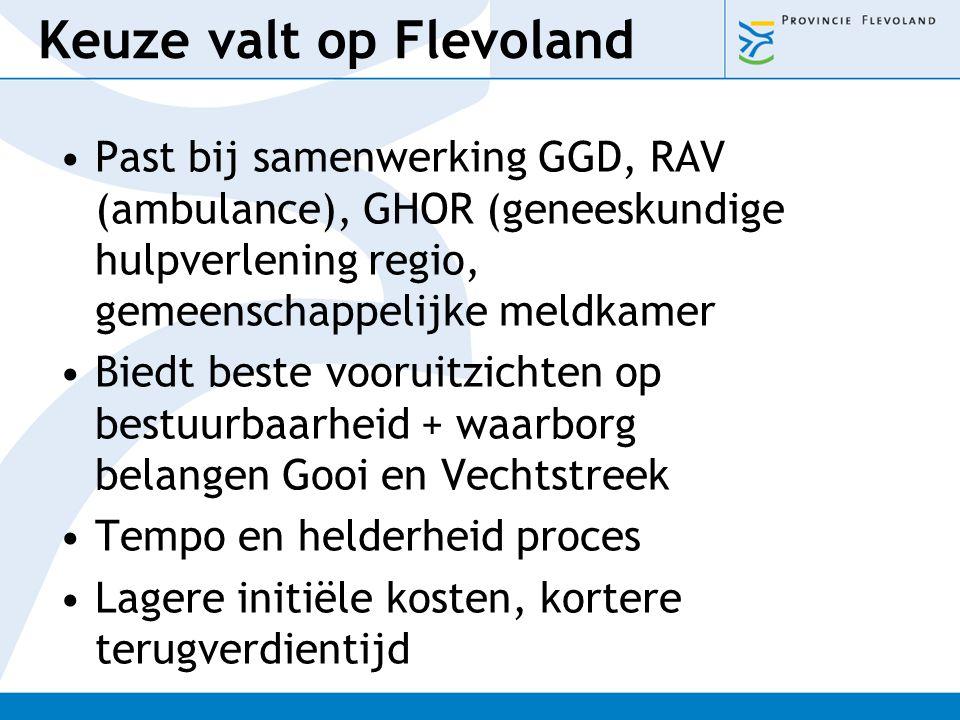 Keuze valt op Flevoland Past bij samenwerking GGD, RAV (ambulance), GHOR (geneeskundige hulpverlening regio, gemeenschappelijke meldkamer Biedt beste