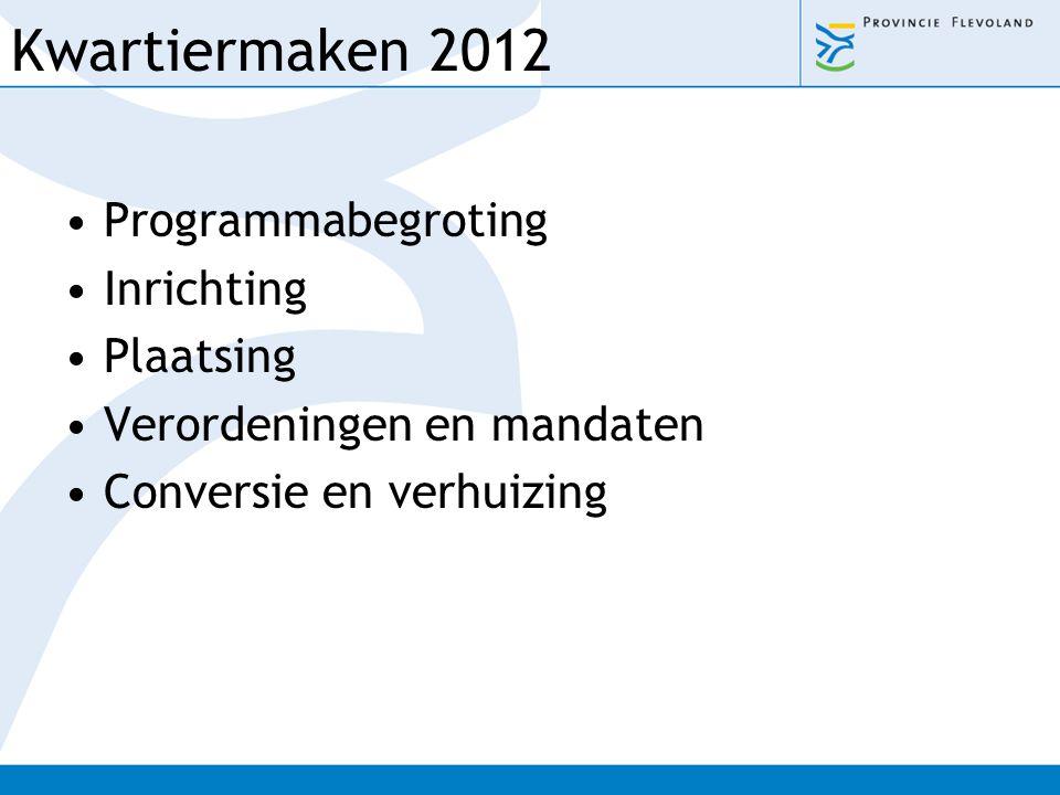 Kwartiermaken 2012 Programmabegroting Inrichting Plaatsing Verordeningen en mandaten Conversie en verhuizing