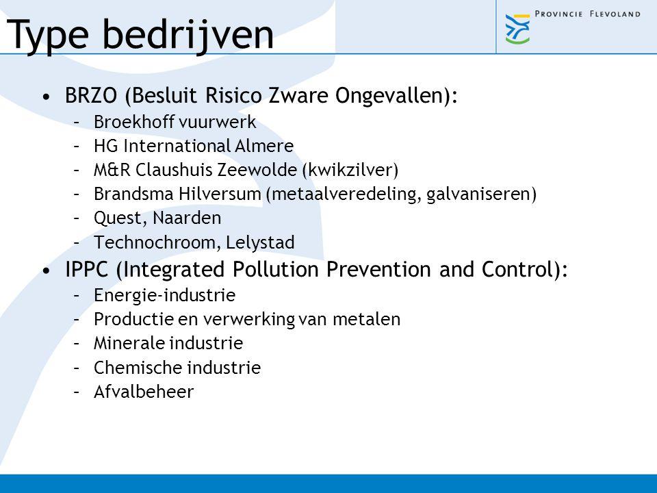 BRZO (Besluit Risico Zware Ongevallen): –Broekhoff vuurwerk –HG International Almere –M&R Claushuis Zeewolde (kwikzilver) –Brandsma Hilversum (metaalv
