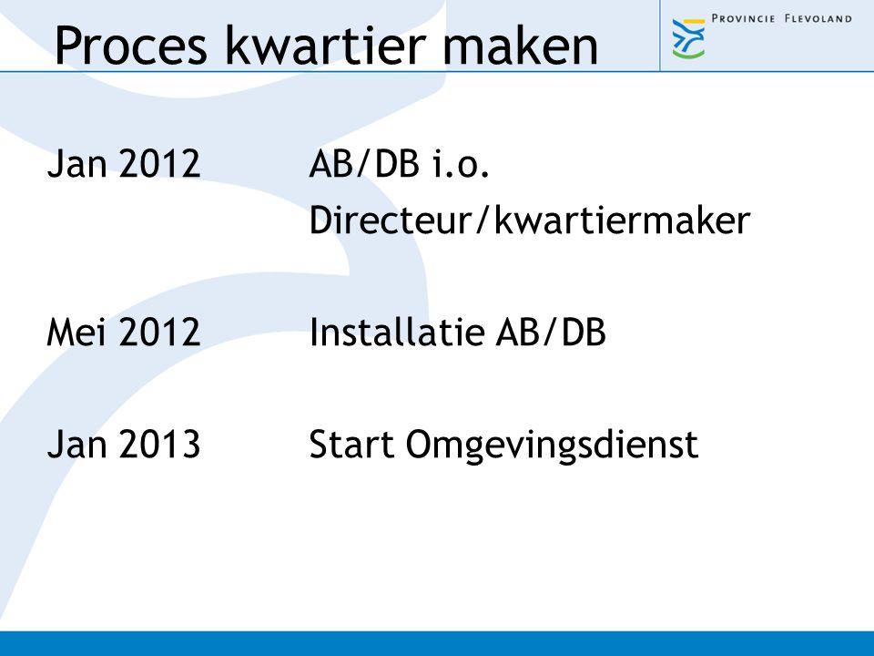 Jan 2012AB/DB i.o. Directeur/kwartiermaker Mei 2012Installatie AB/DB Jan 2013Start Omgevingsdienst Proces kwartier maken