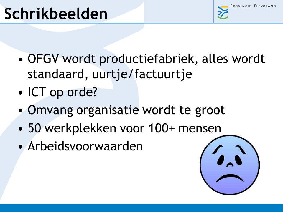 Schrikbeelden OFGV wordt productiefabriek, alles wordt standaard, uurtje/factuurtje ICT op orde? Omvang organisatie wordt te groot 50 werkplekken voor