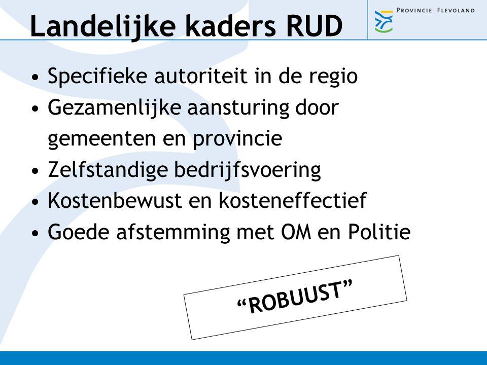 Landelijke kaders RUD Specifieke autoriteit in de regio Gezamenlijke aansturing door gemeenten en provincie Zelfstandige bedrijfsvoering Kostenbewust