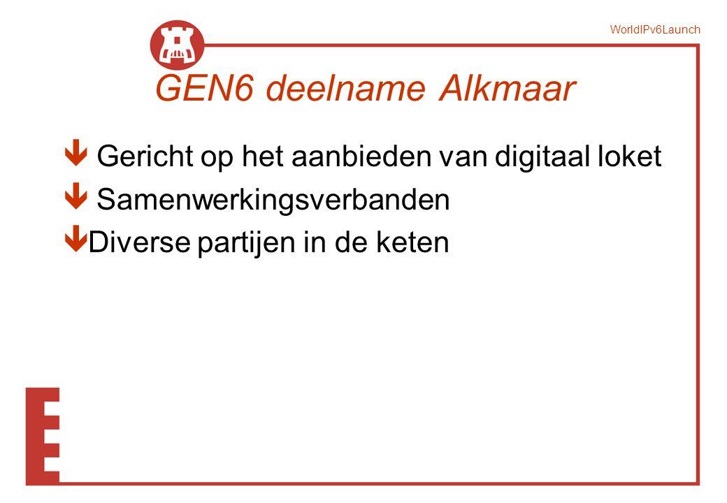 WorldIPv6Launch Overzicht www.alkmaar.nl digid.nl Mid-office intake Back Office