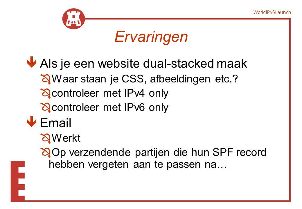 WorldIPv6Launch Ervaringen ê Als je een website dual-stacked maak Ô Waar staan je CSS, afbeeldingen etc.? Ô controleer met IPv4 only Ô controleer met