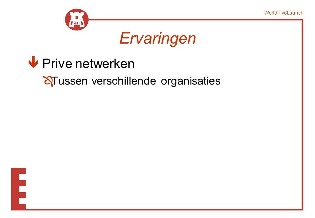 WorldIPv6Launch Ervaringen ê Prive netwerken ÔTussen verschillende organisaties
