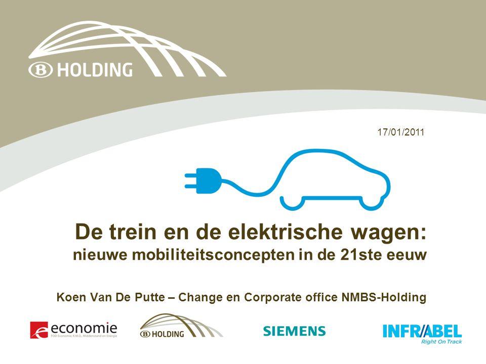 17/01/2011 De trein en de elektrische wagen: nieuwe mobiliteitsconcepten in de 21ste eeuw Koen Van De Putte – Change en Corporate office NMBS-Holding
