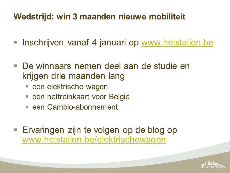Wedstrijd: win 3 maanden nieuwe mobiliteit  Inschrijven vanaf 4 januari op www.hetstation.bewww.hetstation.be  De winnaars nemen deel aan de studie